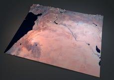 Syria, satelitarny widok, mapa, sekcja 3d, środkowy wschód Obraz Stock