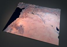 Syria, satellite view, map, section 3d, middle east Stock Image