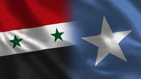 Syria and Somalia - Two Flag Together - Fabric Texture. Realistic Flags stock photos
