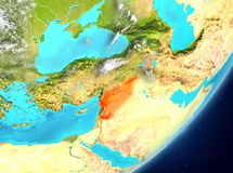 Syria from space. Satellite view of Syria highlighted in red on planet Earth with clouds. 3D illustration. Elements of this image furnished by NASA Stock Images