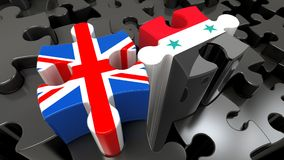Syria and United Kingdom flags on puzzle pieces. Political relationship concept. 3D rendering Stock Photos