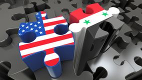 Syria and United States flags on puzzle pieces. Political relationship concept. 3D rendering Royalty Free Stock Images