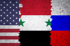 Syria USA and Russia torn flags grunge background Stock Photography
