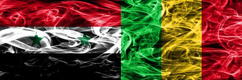 Syria vs Mali smoke flags placed side by side. Thick colored sil. Ky smoke flags of Syrian and Mali Vector Illustration