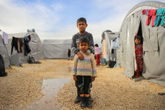 SYRIA-WAR-CHILD-VICTIM-REFUGEE Lizenzfreie Stockbilder