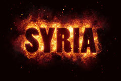Syria war text on fire flames explosion burning. Explode Royalty Free Stock Photo
