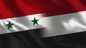 Syria and Yemen - Two Flag Together - Fabric Texture royalty free stock photo
