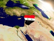 Syria z flaga w powstającym słońcu Fotografia Royalty Free
