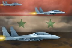 Syrian Arab Republic air forces strike concept. Air planes attack on Syrian Arab Republic flag background. 3d Illustration. Syrian Arab Republic air strike Stock Image