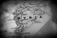 Syrian Arab Republic - conflict map. Syria, Syrian Arab Republic - conflict map black and white royalty free stock image