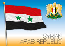Syrian Arab Republic flag and coat of arms. Vector file, illustration stock photos
