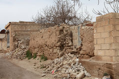SYRIAN ARMY BOMBED SEREKANIYE. Royalty Free Stock Photos