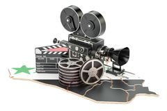Syrian cinematography, film industry concept. 3D rendering. Isolated on white background Stock Photos