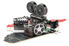 Syrian cinematography, film industry concept. 3D rendering. On white background Royalty Free Stock Photo