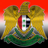 Syrian coat of arms. Syria coat of arms middle east flag Royalty Free Stock Photo