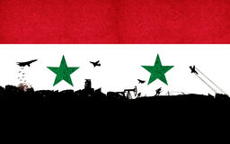 Syrian flag with a black and white illustrations of the war agai Stock Photography