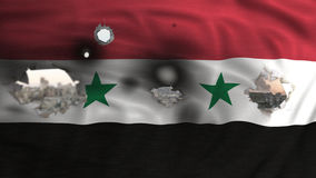 Syrian flag perforated and city destroyed on the background Royalty Free Stock Image