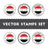Syrian flag rubber stamps set. National flags grunge stamps. Country round badges collection Royalty Free Stock Images