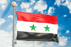 Syrian flag waving in blue cloudy sky, 3D rendering Stock Photos