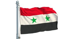 Syrian flag waving on white background, animation. 3D rendering stock footage