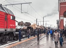 Syrian Fracture train in Oryol stock image