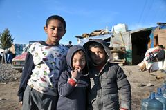 Syrian and gypsy refugees in anatolian side of istanbul, Turkey royalty free stock photography