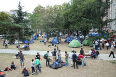 Syrian immigrants in Belgrade Stock Photos