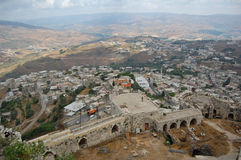 Syrian landscape. View from Krak du Chevalliers ancient crusaders castle stock images