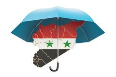 Syrian map under umbrella. Security and protect or insurance con. Cept, 3D Stock Photography