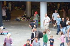 Syrian migrants concentrated near the Budapest's international railway station Stock Image