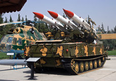 Syrian Army rocket launcher and helicopter Stock Images