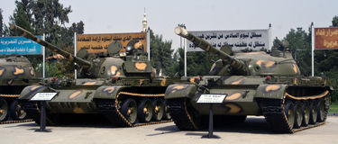 Syrian Army tanks. 2011: Damascus. Syrian Army Tanks on display, 1 year before the Civil War commenced royalty free stock photo
