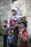 Syrian Mother With Her Childern In Aleppo. Royalty Free Stock Photography