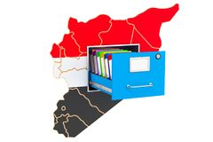 Syrian national database concept, 3D rendering. Isolated on white background Stock Photos