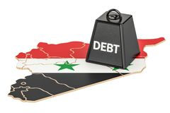 Syrian national debt or budget deficit, financial crisis concept. 3d Royalty Free Stock Photo