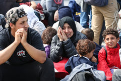 Syrian people on border crossing Stock Photo