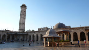 Syrian people in Damascus' Umayyad Mosque Royalty Free Stock Photography