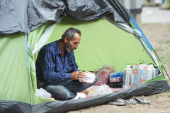 Syrian refugee in tent Stock Photography
