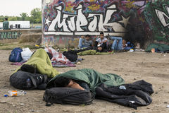 Syrian refugees. BELGRADE,SERBIA -JUNE 30, 2015: unidentified Syrian refugees, under the bridge,waithing for transport in Europian Union June 30, 2015 in royalty free stock photo