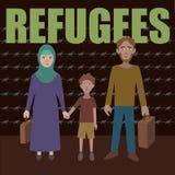Syrian refugees. Civil war in Syria. Syrian crisis. emigrants. Fleeing war royalty free illustration