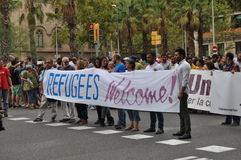 Syrian Refugees Crisis - Pro-refugee demonstration in Barcelona, Spain, September 12, 2015. Royalty Free Stock Photos
