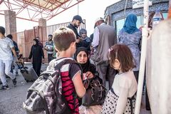 Syrian refugees entering Turkey Royalty Free Stock Image