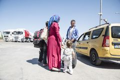 Syrian refugees entering Turkey Stock Photos