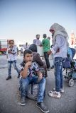 Syrian refugees entering Turkey Royalty Free Stock Photography