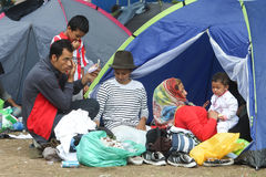 Syrian refugees resting in tent Royalty Free Stock Photography