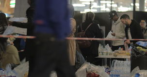 Syrian Refugees Taking Food Donated by Copenhagen stock video footage