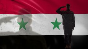 Syrian soldier silhouette saluting against national flag, military war tactics. Stock footage stock video footage