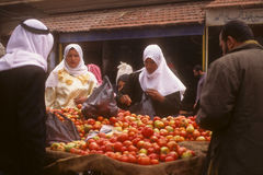 Syrian street market, veiled arab women Stock Photo