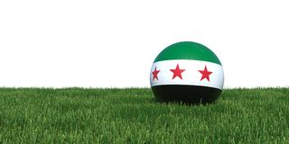 Syrian Syria new flag soccer ball lying in grass world cup 2018. Isolated on white background. 3D Rendering, Illustration Royalty Free Stock Photo