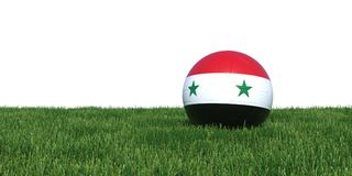 Syrian Syria old flag soccer ball lying in grass world cup 2018. Isolated on white background. 3D Rendering, Illustration Royalty Free Stock Photo